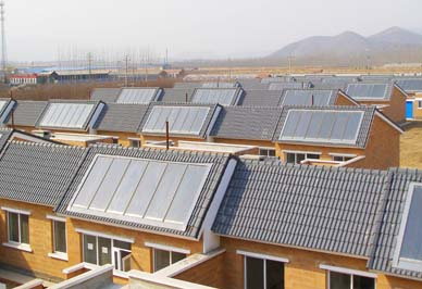 农村太阳能取暖安装在屋顶